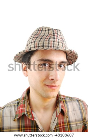 handsome young farmer from the countryside with checked hat (over white background)