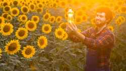 Handsome young farmer standing in the middle of a golden sunflower field smiling and holding up a sunflower oil bottle during a majestic sunrise.