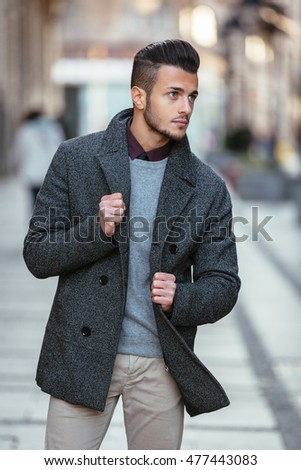 Handsome Young Fashion Model Posing On City Streets Outdoor Portrait Stylish Man In