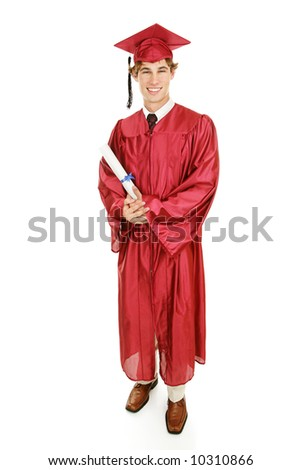 Handsome young graduate in his cap and gown holding his diploma.  Full body isolated on white.