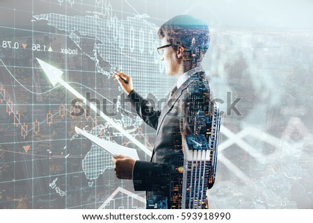 Handsome young male with document in hand drawing upward arrow on forex chart. Finance concept. Double exposure