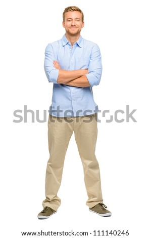 Handsome young man arms folded full length white background #111140246