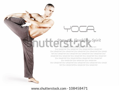 Handsome young man doing yoga pose over white background