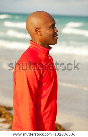 Handsome young man enjoying South Beach in Miami.
