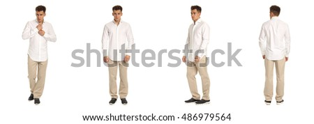 Handsome young man in white shirt standing