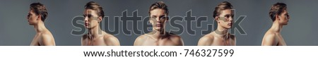 Handsome young man isolated. Shirtless muscular man is standing on grey background. Five angle view of a young handsome man face.