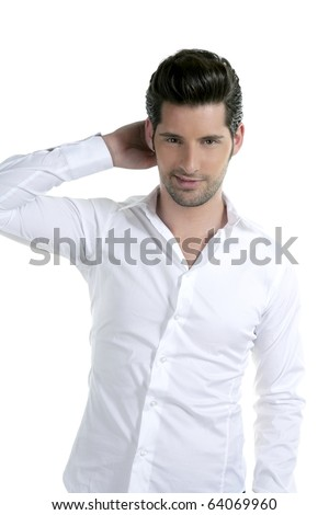 handsome young man portrait posing isolated on white