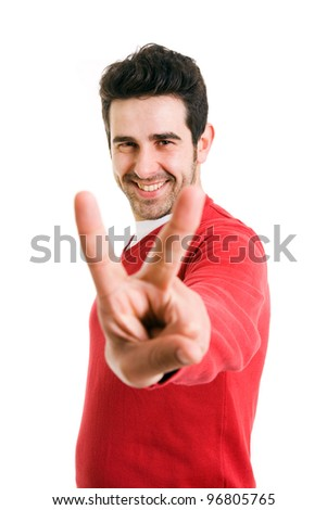 handsome young man showing victory fingers sign (isolated on white background)