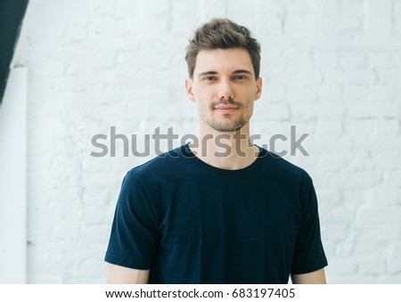 Handsome young man smile portrait. #683197405
