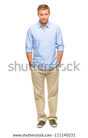 Handsome young man smiling full length white background