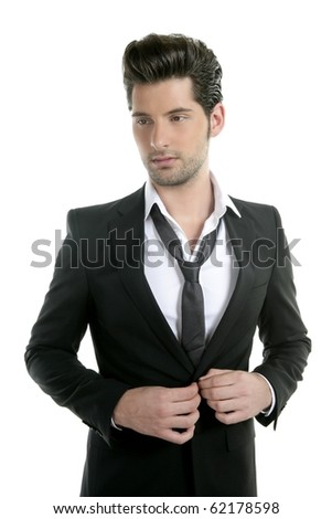 Handsome young man suit casual necklace suit isolated on white