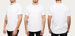 Handsome young man wearing a white casual t-shirt. Side view, behind and front view of a mockup t-shirt for design print