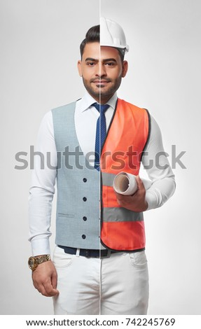 Handsome young man wearing smart casual business outfit and safety vest with a hardhat carrying a blueprint profession occupation job career architecture constructionist success CEO. #742245769