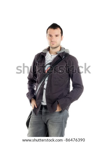 handsome young man with casual clothing that poses