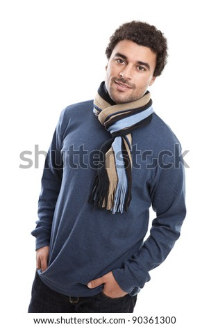 Handsome young middle eastern man portrait isolated on white