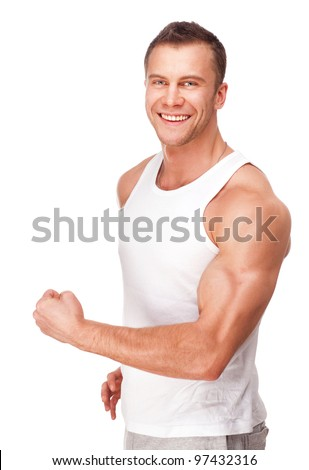 handsome young muscular sports man on white background - stock photo