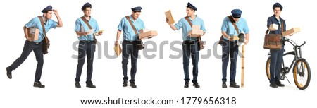 Handsome young postman on white background Stockfoto ©