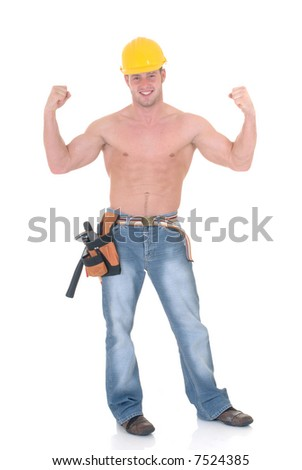 Handsome young topless construction worker showing muscles, macho display,  studio shot,  white background