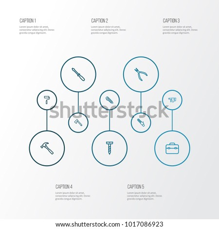 Handtools icons line style set with saw, turn-screw, repair and other toolkit elements. Isolated  illustration handtools icons.