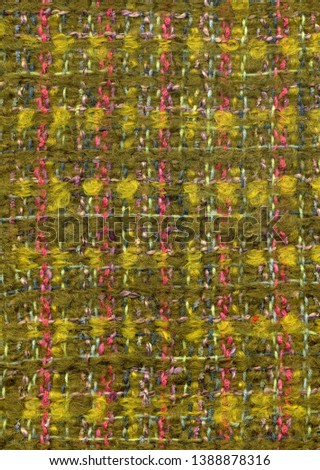 Handwoven mohair fabric with pattern in olive green