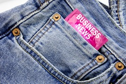 Handwriting Announcement text showing Business News. Business concept for Modern Online News Written on condom pack put in small pocket to pants jeans.