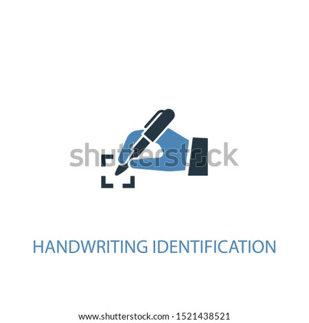 handwriting identification concept 2 colored icon. Simple blue element illustration. handwriting identification concept symbol design. Can be used for web and mobile UI/UX