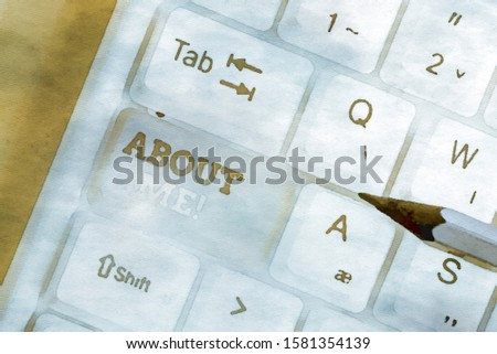 Handwriting text About Me. Concept meaning telling someone list of your good and bad traits and past events White pc keyboard with empty note paper above white background key copy space.