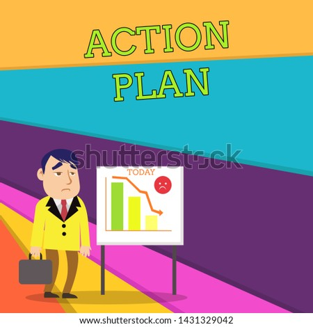 Handwriting text Action Plan. Concept meaning proposed strategy or course of actions for certain time Businessman Clerk with Brief Case Standing Whiteboard Declining Bar Chart.