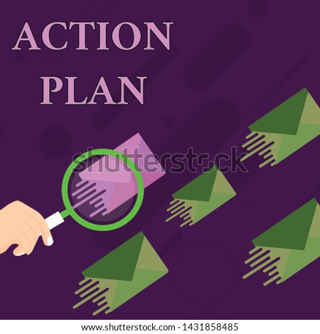 Handwriting text Action Plan. Concept meaning proposed strategy or course of actions for certain time Magnifying Glass on One Different Color Envelope and others has Same Shade.