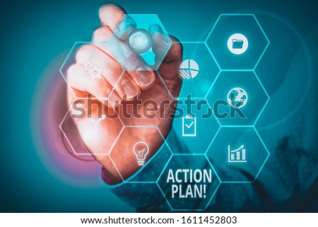 Handwriting text Action Plan. Concept meaning proposed strategy or course of actions for certain time Picture photo system network scheme modern technology smart device.