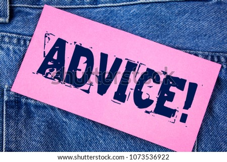 Handwriting text Advice Motivational Call. Concept meaning Learn to be good at advicing people, businesses written on Sticky Note Paper on the Jeans background.