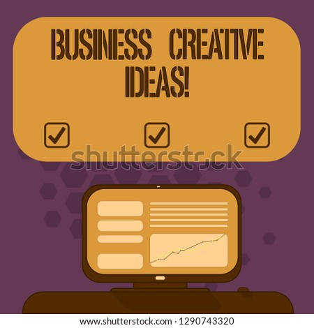 Handwriting text Business Creative Ideas. Concept meaning Concept that can be used for financial gain Mounted Computer Screen with Line Graph on Desk Blank Color Text Box.