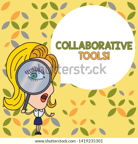 Handwriting text Collaborative Tools. Concept meaning Private Social Network to Connect thru Online Email Woman Looking Trough Magnifying Glass Big Eye Blank Round Speech Bubble.
