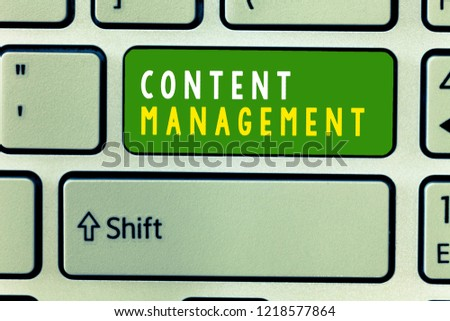 Handwriting text Content Management. Concept meaning Process that collects manage and publish information