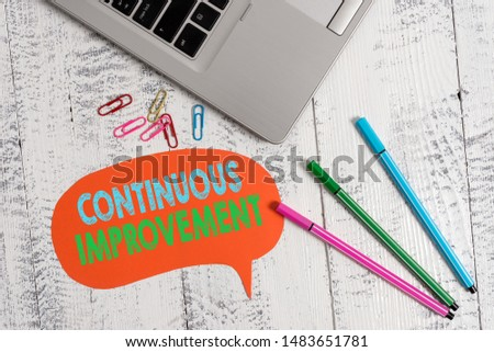 Handwriting text Continuous Improvement. Concept meaning ongoing effort to improve products or processes Trendy metallic laptop speech bubble colored clips pens lying vintage table.
