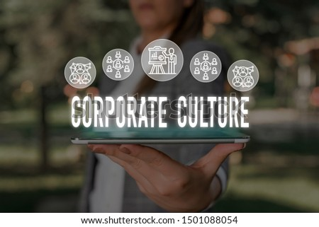Handwriting text Corporate Culture. Concept meaning pervasive values and attitudes that characterize a company Woman wear formal work suit presenting presentation using smart device. #1501088054