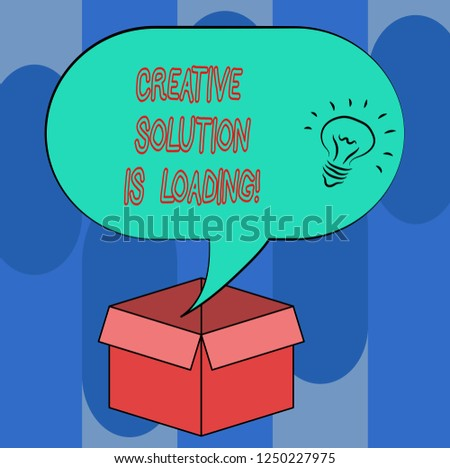 Handwriting text Creative Solution Is Loading. Concept meaning Inspiration Original ideas in process Idea icon Inside Blank Halftone Speech Bubble Over an Open Carton Box.
