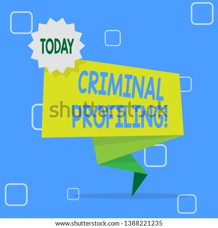 Handwriting text Criminal Profiling. Concept meaning Develop profiles for criminals who not yet apprehended Blank Space Green Two Tone Folded Back Banner Strip with Seal Stamp Sticker.