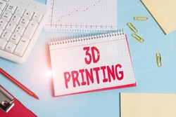 Handwriting text 3D Printing. Concept meaning making a physical object from a threedimensional digital model Paper blue desk computer keyboard office study notebook chart numbers memo.