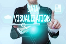 Handwriting text Data Visualization. Business overview representation of information in the form of a chart Woman In Suit Holding Tablet Pointing Finger On Futuristic Virtual Button.