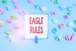 Handwriting text Eagle Rules. Concept meaning a huge set of design rules which your layout needs to pass Colored crumpled papers empty reminder blue floor background clothespin.