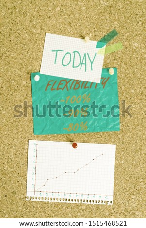 Handwriting text Flexibility 100 Percent 90 Percent 80 Percent. Concept meaning How much flexible you are maleability level Corkboard color size paper pin thumbtack tack sheet billboard notice board.