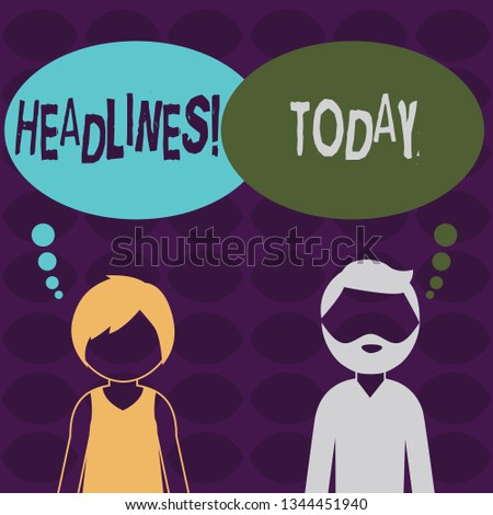 Handwriting text Headlines. Concept meaning Heading at the top of an article in newspaper Bearded Man and Woman Faceless Profile with Blank Colorful Thought Bubble.