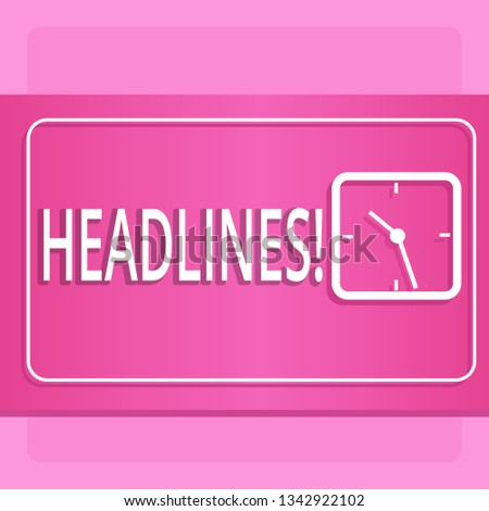 Handwriting text Headlines. Concept meaning Heading at the top of an article in newspaper Modern Design of Transparent Square Analog Clock on Two Tone Pastel Backdrop.