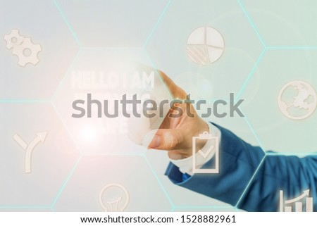 Handwriting text Hello I Am Enjoying Life. Concept meaning Happy relaxed lifestyle Enjoy simple things Male human wear formal work suit presenting presentation using smart device.