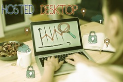 Handwriting text Hosted Desktop. Concept meaning product set within the larger cloudcomputing sphere.