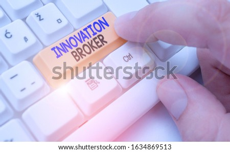 Handwriting text Innovation Broker. Concept meaning help to mobilise innovations and identify opportunities.