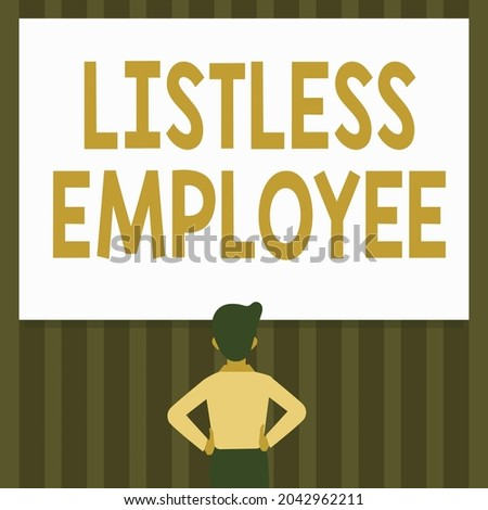 Handwriting text Listless Employee. Business concept an employee who having no energy and enthusiasm to work Man Drawing Standing Hands N Hips Looking At An Empty Whiteboard. Foto stock ©