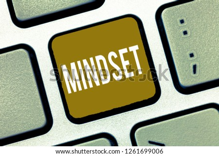 Handwriting text Mindset. Concept meaning Established set of attitudes held by someone Positive attitude #1261699006