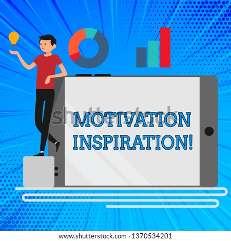 Handwriting text Motivation Inspiration. Concept meaning ability to change the way we feel about life Man Leaning on Blank Smartphone Turned on Its Side with Graph and Idea Icon.